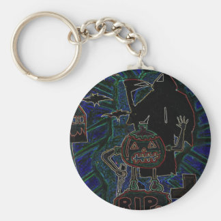 Halloween Kids Abstract Arts Basic Round Button Key Ring
