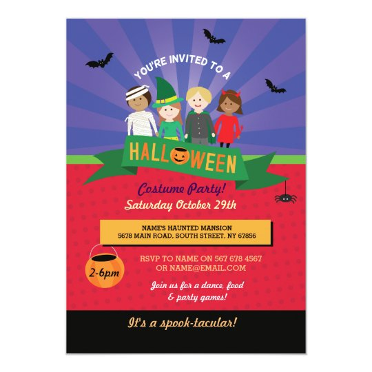 Halloween Kid's Costume Pumpkin Party Invite