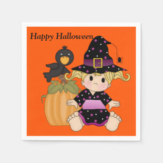 Halloween Kids Cute Witch Party Napkin Disposable Serviette