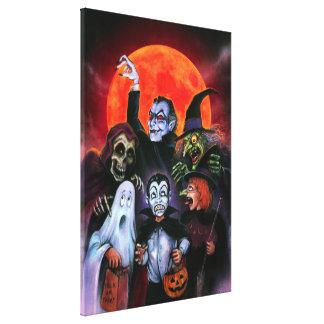 Halloween Kids meet Monsters Canvas Prints