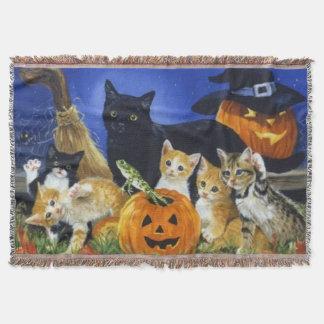 Halloween Kitty Family Throw Blanket