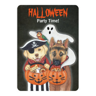 Halloween Lab, Shepherd, and Parrot in Costumes 13 Cm X 18 Cm Invitation Card