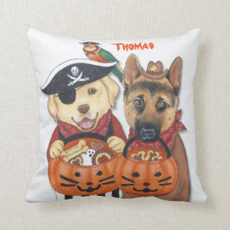 Halloween Lab, Shepherd, and Parrot in Costumes Cushion