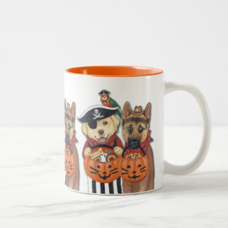 Halloween Lab, Shepherd, and Parrot in Costumes Two-Tone Mug