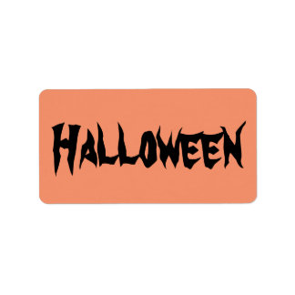 Halloween Labels with Black Text on Orange