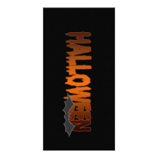 Halloween lettering bat photo card template