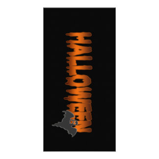 Halloween lettering ghost photo card