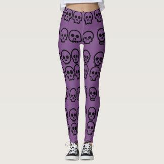 Halloween Little Skulls Purple Pattern Leggings