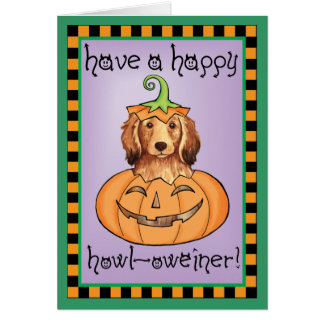 Halloween Longhaired Dachshund Greeting Card