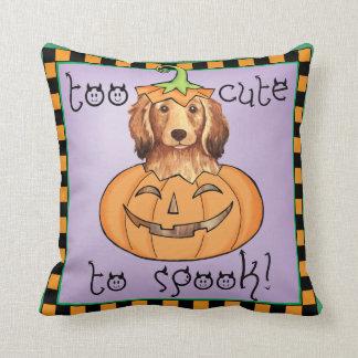 Halloween Longhaired Dachshund Throw Pillow