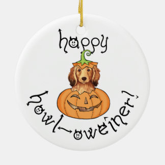 Halloween Longhaired Dachshund Double-Sided Ceramic Round Christmas Ornament