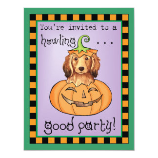 Halloween Longhaired Dachshund 4.25x5.5 Paper Invitation Card