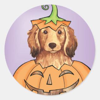 Halloween Longhaired Dachshund Round Sticker