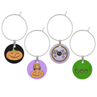 Halloween Longhaired Dachshund Wine Glass Charms