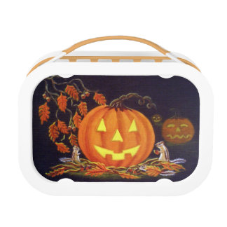Halloween lunchbox,chipmunks,Autumn,leaves,acorns Lunch Boxes