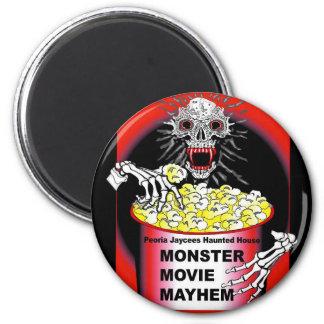 Halloween Magnet Skeleton Eating Buttered Popcorn