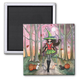 Halloween Magnet Witch and Cats