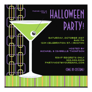 Halloween Martini Eyeball Cocktail Party Card