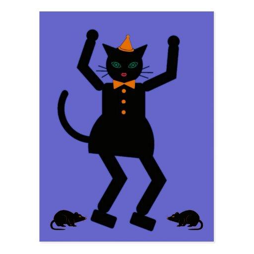 Halloween Martzkin Black Cat Girl Postcard