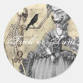 Halloween Masquerade Ball Round Sticker