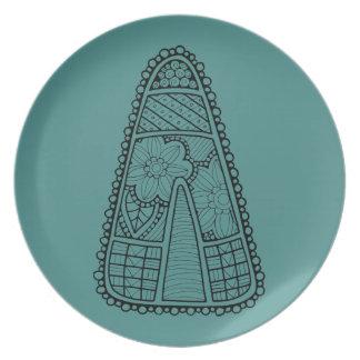 Halloween Masquerade Candy Corn Lineart Design Plate