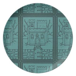 Halloween Masquerade Castle Lineart Design Plate