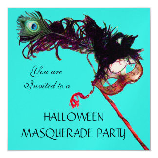 "HALLOWEEN MASQUERADE PARTY,Black Gold Green 5.25"" Square Invitation Card"