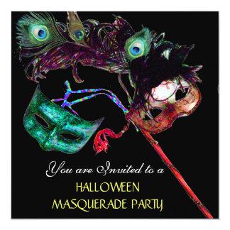 HALLOWEEN MASQUERADE PARTY,Black white blue 13 Cm X 13 Cm Square Invitation Card
