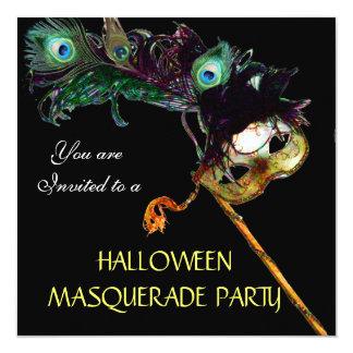 HALLOWEEN MASQUERADE PARTY,Black yellow blue 13 Cm X 13 Cm Square Invitation Card