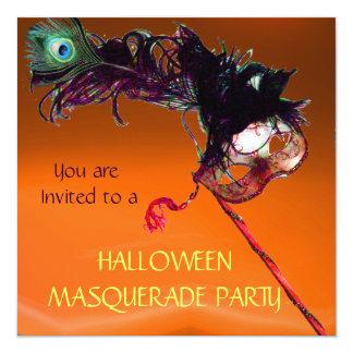"HALLOWEEN MASQUERADE PARTY,Black Yellow Orange 5.25"" Square Invitation Card"