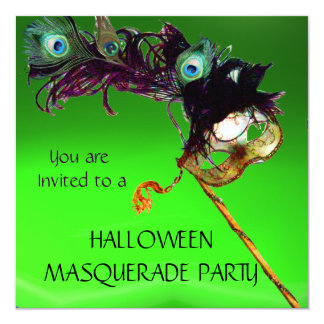HALLOWEEN MASQUERADE PARTY Green yellow black blue 13 Cm X 13 Cm Square Invitation Card