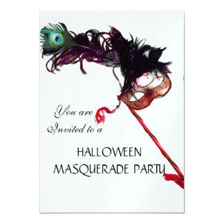 HALLOWEEN MASQUERADE PARTY MASK,white ice 13 Cm X 18 Cm Invitation Card
