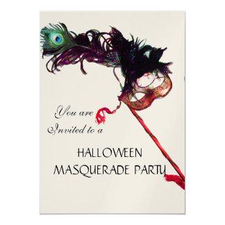 "HALLOWEEN MASQUERADE PARTY,metallic champagne 5"" X 7"" Invitation Card"