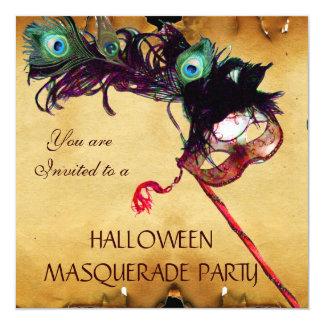 HALLOWEEN MASQUERADE PARTY parchment 13 Cm X 13 Cm Square Invitation Card