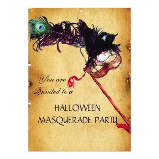 HALLOWEEN MASQUERADE PARTY, parchment 13 Cm X 18 Cm Invitation Card