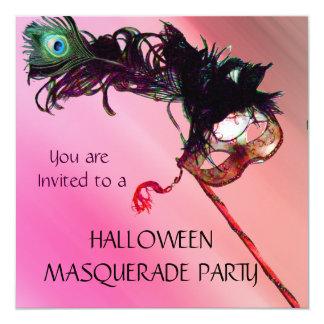 HALLOWEEN MASQUERADE PARTY, Red Yellow silk 13 Cm X 13 Cm Square Invitation Card
