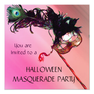HALLOWEEN MASQUERADE PARTY, Red Yellow silk Card