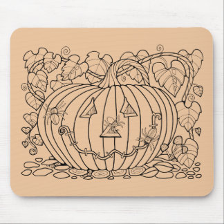 Halloween Masquerade Pumpkin Spider Lineart Design Mouse Mat