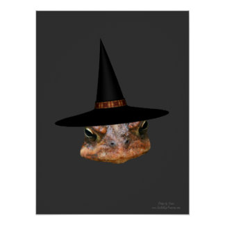 Halloween Mean Toad Face Witch Hat Poster Print