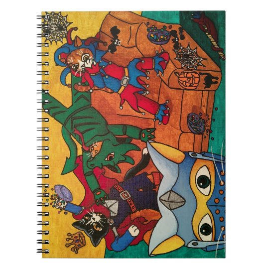 Halloween Medieval Knight Costume Cats Spiral Notebook