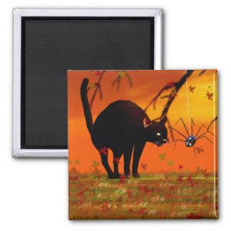 Halloween Meeting - Black Cat and Spider Fridge Magnet