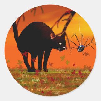 Halloween Meeting - Black Cat and Spider Round Sticker