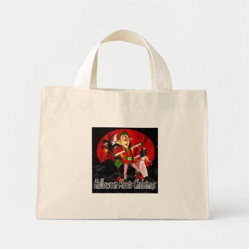 Halloween meets Christmas, elf running away Tote Bag