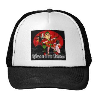 Halloween meets Christmas, elf running away Hats