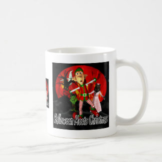 Halloween meets Christmas, elf running away Coffee Mugs