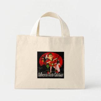 Halloween meets Christmas, elf running away Mini Tote Bag