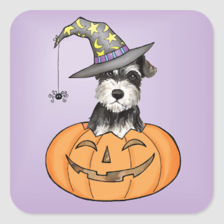 Halloween Miniature Schnauzer Square Sticker