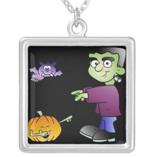 Halloween Monster Fun Square Pendant Necklace