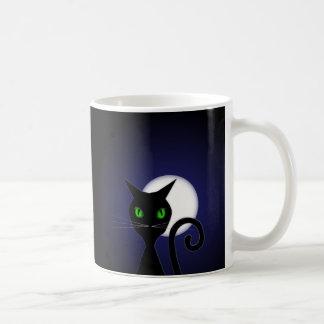 Halloween Moon and Cat Classic White Coffee Mug
