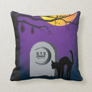 Halloween Moon Black Cat Tombstone Tree Bat Pillow